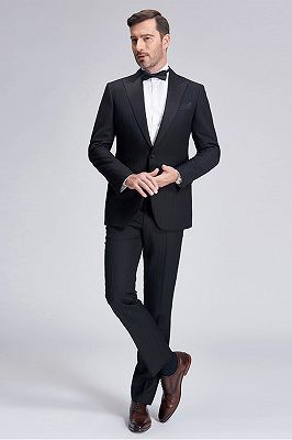 Popular Silk Peak Lapel Black Mens Suits for Wedding | One Button Stripes Cheap Wedding Tuxedo_2