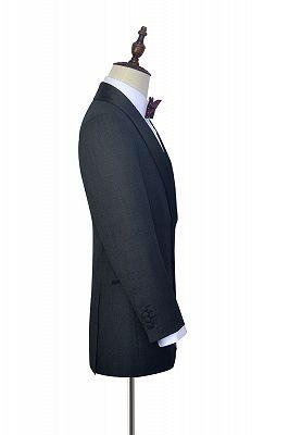 Classic Dark Grey Black Shawl Collar Wedding Tuxedos | Two Buttons Custom Wedding Suits for Men_4