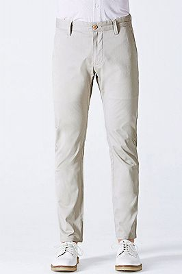 Simple Cotton Off-White Mens Casual Pants for Daily_1