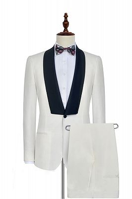 Black Knife Collar Classic White Wedding Suits for Men | One Button Wedding Tuxedos Cheap_1