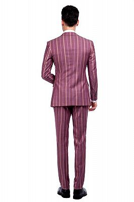 Modern Check Patten Red Purple Mens Suits_3