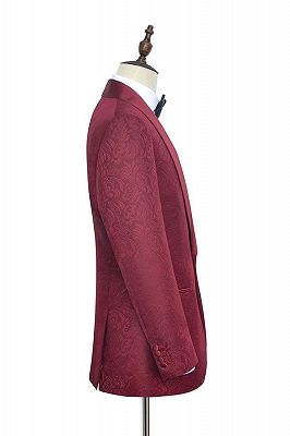 Luxury Burgundy Jacquard One Button Silk Shawl Lapel Mens Suits for Wedding and Prom_4