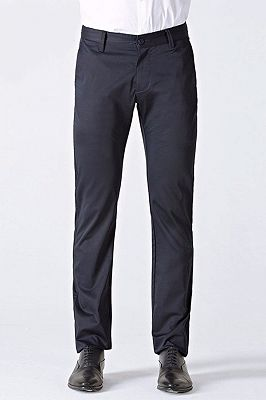 Classic Dark Navy Cotton Straight Mens Suit Pants for Business_1