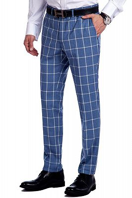 Light-colored Plaid Blue Fashionable Mens Suits for Formal_8