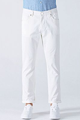 Fashionable White Cotton Solid Casual Mens Ninth Pants_1