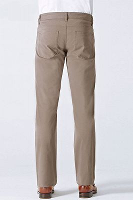 Light Brown Cotton Classic Business Straight Pants for Men_2