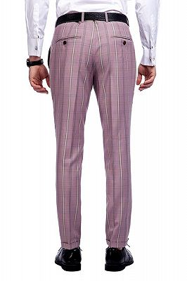 New Coming Plaid Pink Mens Suits with Flap Pocket_10