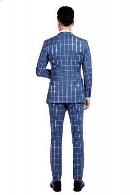 Light-colored Plaid Blue Fashionable Mens Suits for Formal_3