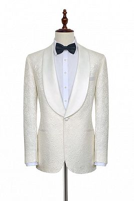Popular Jacquard White Tuxedos for Wedding | Silk Shawl Lapel One Button Wedding Suit for Men_1