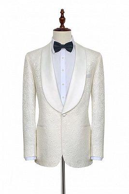Popular Jacquard White Tuxedos for Wedding   Silk Shawl Lapel One Button Wedding Suit for Men_1
