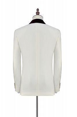 Velvet Shawl Collar White Wedding Tuxedos | Three Piece Wedding Suits with Burgundy Vest_3
