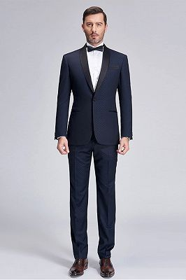 Gentle Blue Dots Shawl Lapel Wedding Tuxedos | Dark Navy Wedding Suits for Men_1