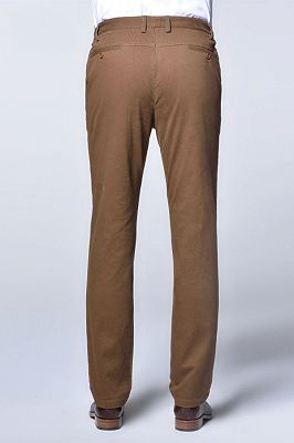 Casual Cotton Pants Solid Brown Slim Fit Daily Trousers_3