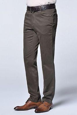 Brown Cotton Slim Fit Fashionable Casual Pants for Men_3