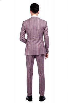New Coming Plaid Pink Mens Suits with Flap Pocket_3