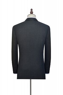 Classic Dark Grey Black Shawl Collar Wedding Tuxedos | Two Buttons Custom Wedding Suits for Men_5