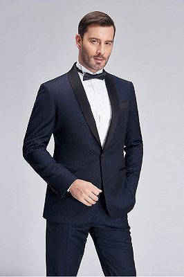 Gentle Blue Dots Shawl Lapel Wedding Tuxedos | Dark Navy Wedding Suits for Men_8