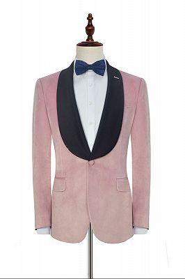 Stylish Pink Velvet Wedding Tuxedos Cheap | Black Silk Shawl Lapel Prom Suits for Men_1