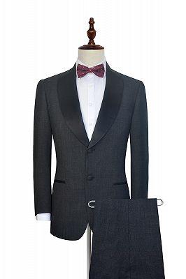 Classic Dark Grey Black Shawl Collar Wedding Tuxedos | Two Buttons Custom Wedding Suits for Men_2
