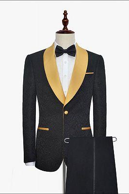 Gold Shawl Lapel One Button Wedding Tuxedo | Black Jacquard Cheap Prom Suits_1