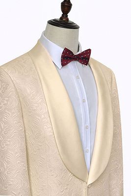 Noble Champagne Jacquard Wedding Tuxedos for Groom | Silk Shawl Lapel Cheap Prom Suits_4