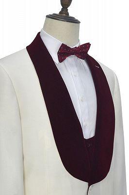 Velvet Shawl Collar White Wedding Tuxedos | Three Piece Wedding Suits with Burgundy Vest_6