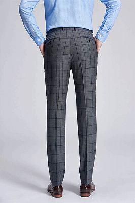 Big Plaid Fashionable Grey Mens Pants for Suit_3