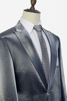 Shiny Silver Tailored Prom Suits Cheap | Glittering Peak Lapel Custom Suits for Men_3