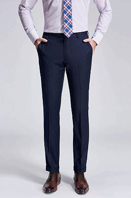 Light Grey Pinstripe Stylish Dark Navy Men's Suit Pants for Formal_1