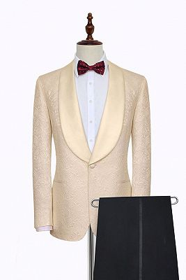 Noble Champagne Jacquard Wedding Tuxedos for Groom | Silk Shawl Lapel Cheap Prom Suits_2