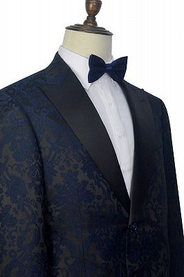 Dark Navy Jacquard Prom Suits Cheap | Black Silk Peak Lapel Mens Suits for Weddings_4