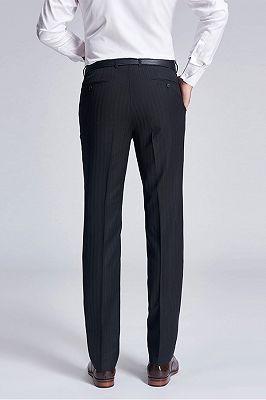 Classic Light Stripes Wedding Pants for Groom | Trey Formal Black Suit Pants_3