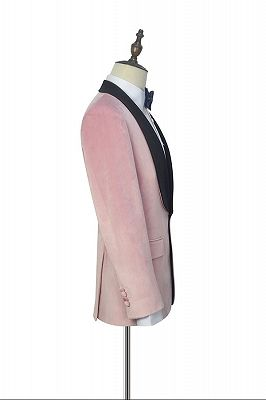 Stylish Pink Velvet Wedding Tuxedos Cheap | Black Silk Shawl Lapel Prom Suits for Men_3