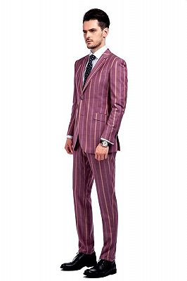 Modern Check Patten Red Purple Mens Suits_2