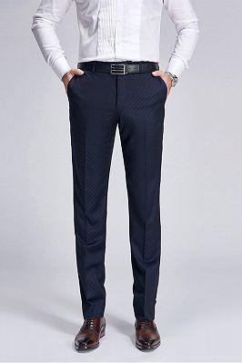 Stylish Blue Dots Dark Navy Suit Pants for Weddings_1