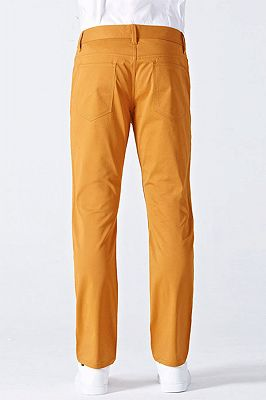 Orange Cotton Made-to-Order Solid Mens Casual Trousers_3