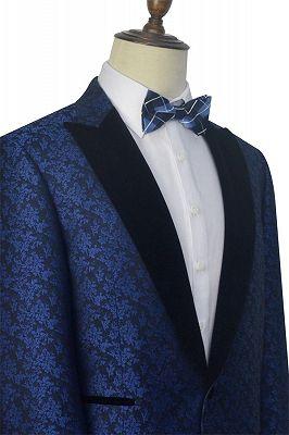 Luxury Blue Floral Patter Tuxedos for Wedding | Black Velvet Peak Collar Cheap Prom Suits_5