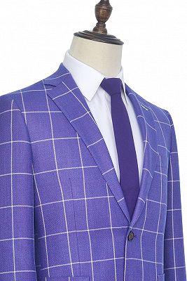 Check Pattern Patch Pocket Purple Mens Suits   Notch Lapel Formal Suits for Men_4