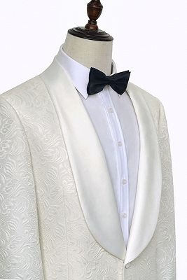 Popular Jacquard White Tuxedos for Wedding | Silk Shawl Lapel One Button Wedding Suit for Men_3