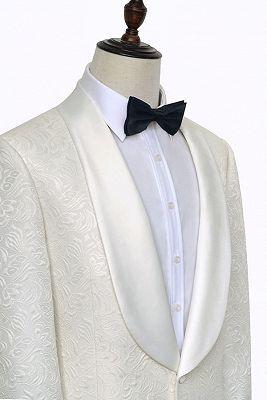 Popular Jacquard White Tuxedos for Wedding   Silk Shawl Lapel One Button Wedding Suit for Men_3