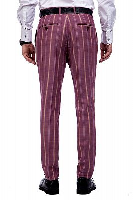 Modern Check Patten Red Purple Mens Suits_9
