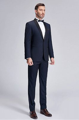 Gentle Blue Dots Shawl Lapel Wedding Tuxedos | Dark Navy Wedding Suits for Men_2