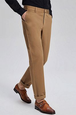 Daily Made-to-Order Khaki Cotton Business Pants for Men_2