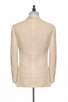Noble Champagne Jacquard Wedding Tuxedos for Groom | Silk Shawl Lapel Cheap Prom Suits_3