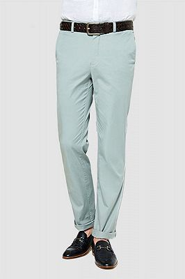 Light Mint Cotton Pants Summer Mens Daily Casual Trousers_1