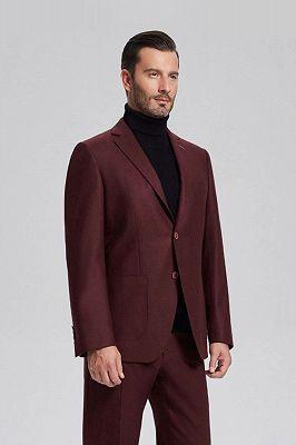 Unique Burgundy Solid Patch Pocket Chic Mens Suits Sale_2