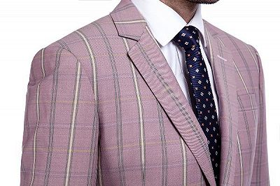 New Coming Plaid Pink Mens Suits with Flap Pocket_5