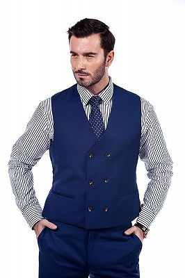 Premium Peak Lapel Navy Blue Three Piece Suits for Men with Double Breasted Vest_7
