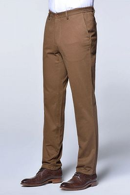 Casual Cotton Pants Solid Brown Slim Fit Daily Trousers_2