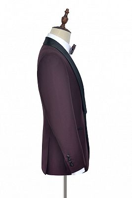 Luxury Black Shawl Collor One Button Wool Burgundy Wedding Suits for Men_4